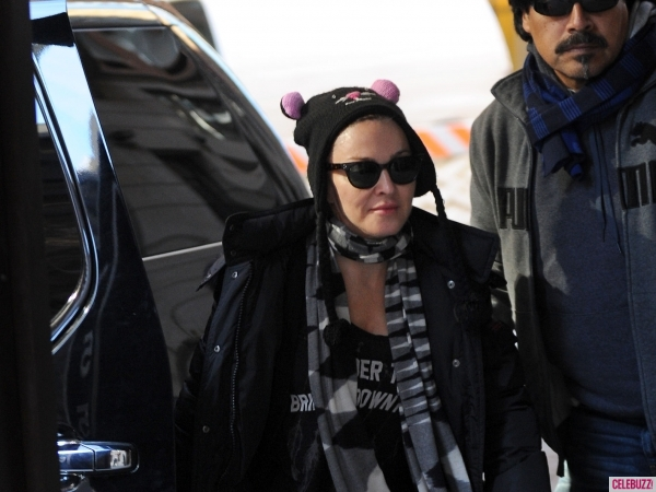 Madonna And Family At Kabbalah Center in New York